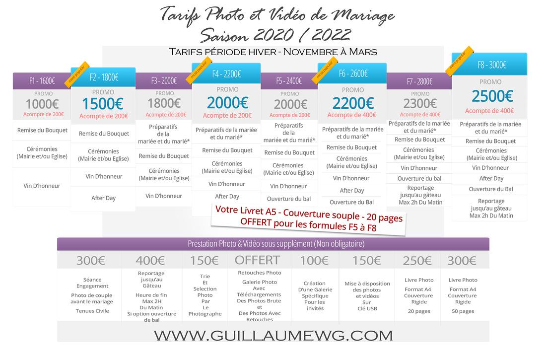 Tarifs Photo Video Wedding HIVER V3 2020-2022